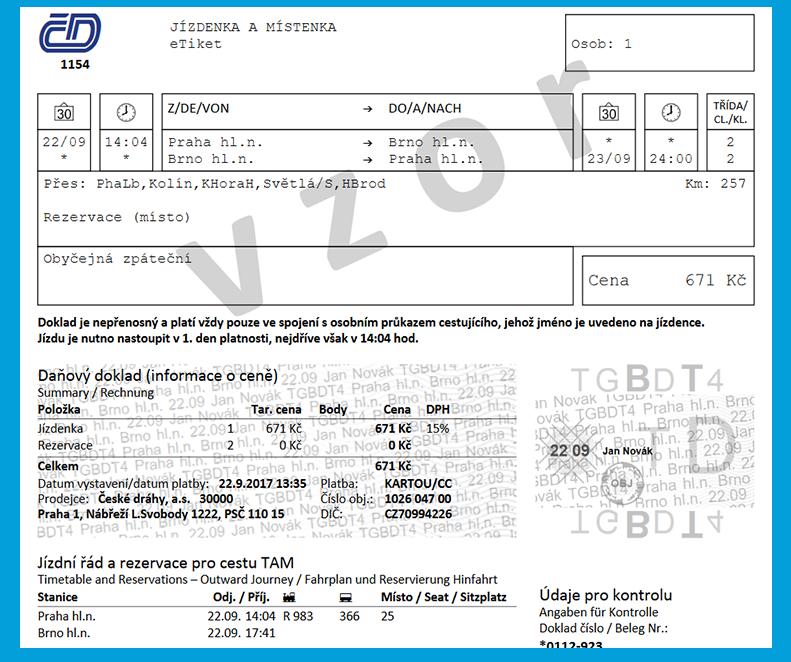 Jízdenka ve formátu PDF